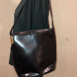 Gucci Hobo Black Leather Pantent shoulder bag